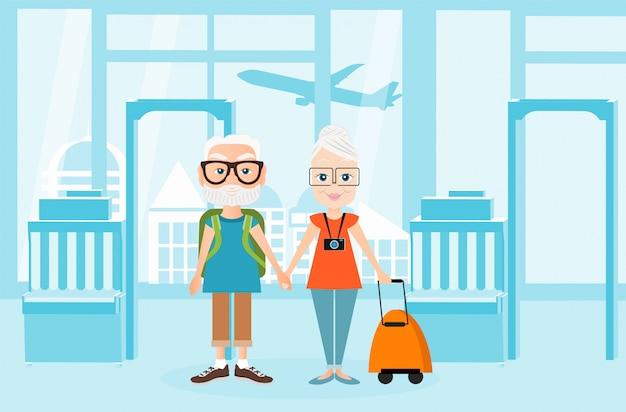 Дедушка и бабушка с рюкзаком путешествуют. путешествие с рюкзаком. иллюстрация интерьеров аэропорта. концепция путешествия. Premium векторы