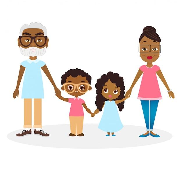 アフリカ系アメリカ人の祖父母と孫と孫娘。アフリカ系アメリカ人の家族は手を取り合っています。 Premiumベクター