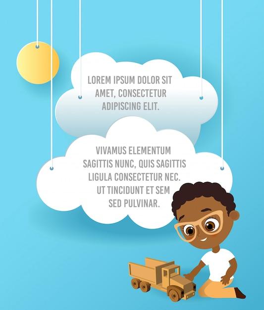 おもちゃの車を持つアフリカ系アメリカ人の少年。車をしている少年。車、空に浮かぶ雲のペーパーアートをベクトルします。テンプレート広告 Premiumベクター