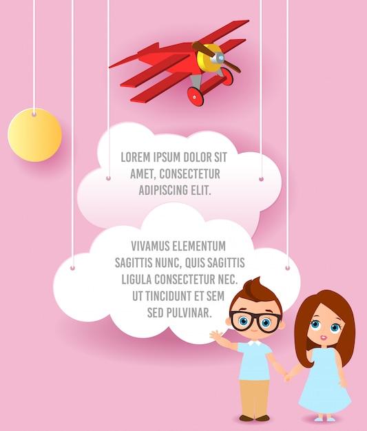 ガラスを持つ少女と少年。雲と空を飛んでいる飛行機のベクトル紙アート。テンプレート広告 Premiumベクター