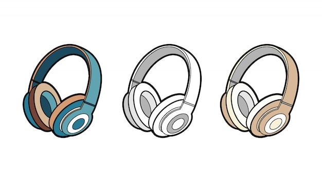 ヘッドフォンワイヤレスベクトル分離セット。ミニマリストスタイルの若者のファッション流行に敏感なクールなヘッドフォンのイラスト。 Premiumベクター