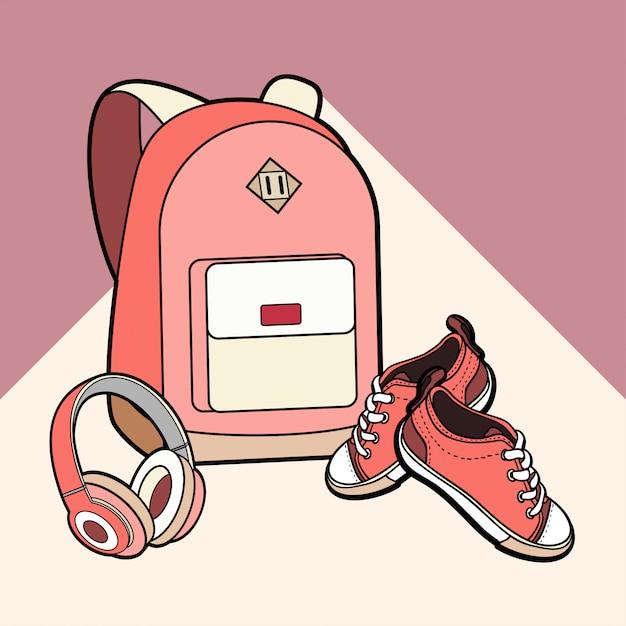 Рюкзак, кроссовки и наушники вектор изолированных набор. Premium векторы
