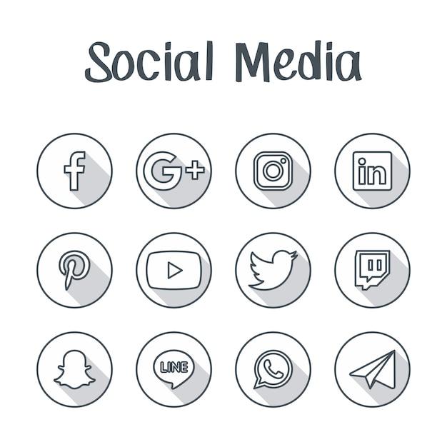 Кнопка значка социальных сетей Premium векторы