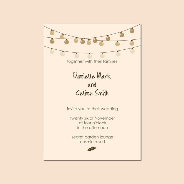 Шаблон свадебного приглашения с фонарем Premium векторы
