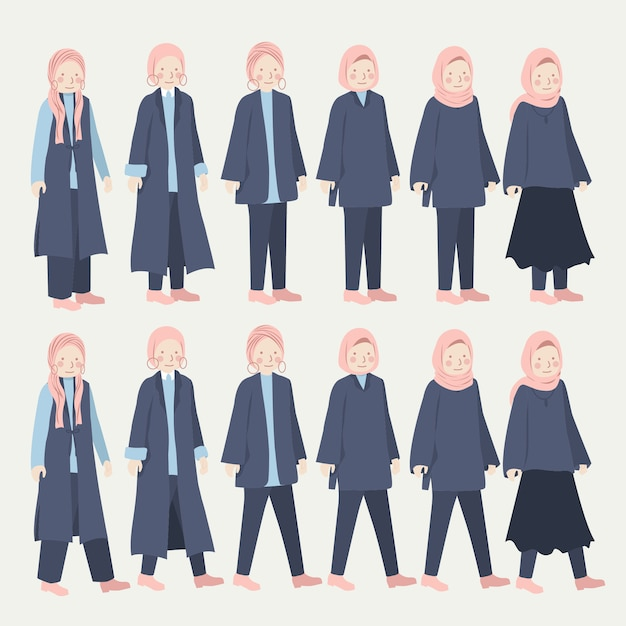 Различные хиджаб девушка повседневная повседневная одежда набор иллюстраций Premium векторы