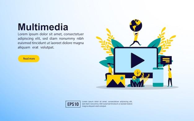 ランディングページのテンプレート。マルチメディア Premiumベクター