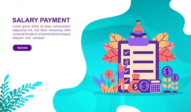 文字と給与支払いのベクトル図の概念。ランディングページテンプレート Premiumベクター