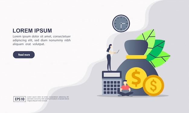 ランディングページのテンプレート。財務書類の取り扱い会計の概念組織プロセス、分析、研究、計画、報告、市場分析フラットスタイルのベクトル Premiumベクター