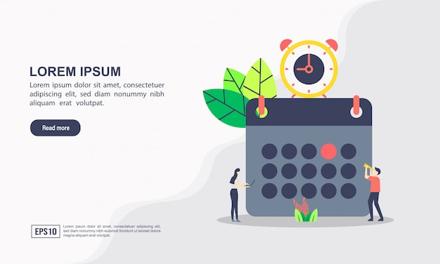 Шаблон целевой страницы. концепция расписания или расписания занятий, составление личного учебного плана, планирование и планирование учебного времени Premium векторы