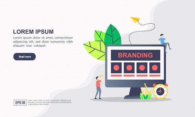 Шаблон целевой страницы. брендинг иллюстрации концепции с характером. Premium векторы