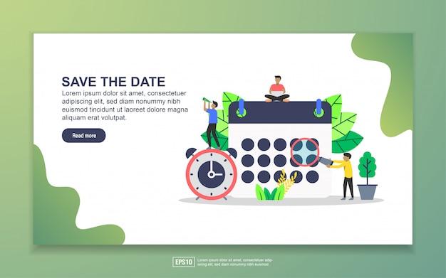 Шаблон целевой страницы сохранения даты Premium векторы