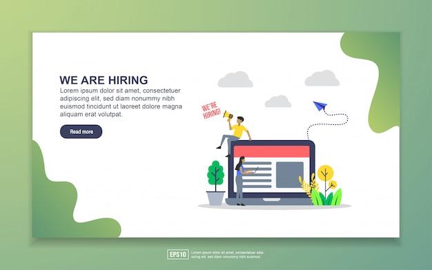 Шаблон целевой страницы мы нанимаем. современная плоская концепция дизайна веб-страницы для сайта и мобильного сайта Premium векторы
