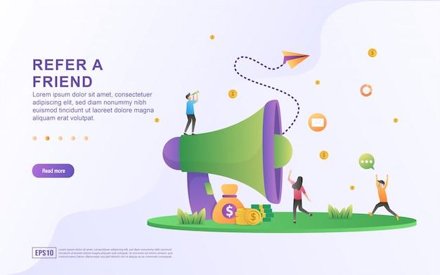 友達のイラストのコンセプトを参照してください。人々は紹介に関する情報を共有し、お金、マーケティング戦略、紹介ビジネスの共有を獲得します。 Premiumベクター