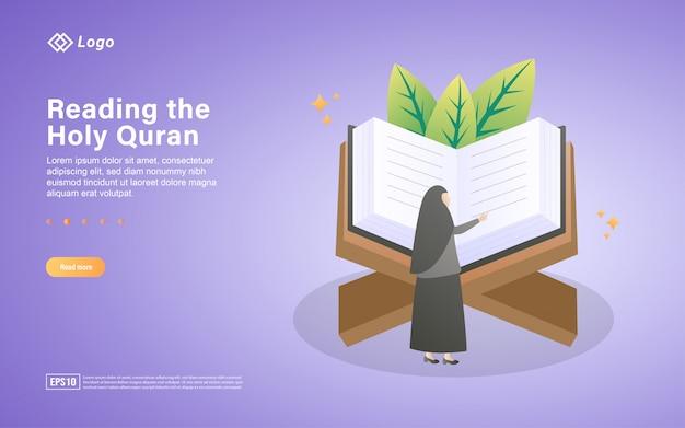 神聖なコーランフラットランディングページテンプレートを読む Premiumベクター