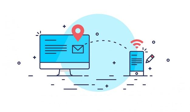 Абстрактная линия художественной отправки почты Premium векторы