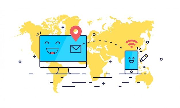 Абстрактная линия искусства отправки почты состав. компьютер и смартфон, получающий сообщение. Premium векторы