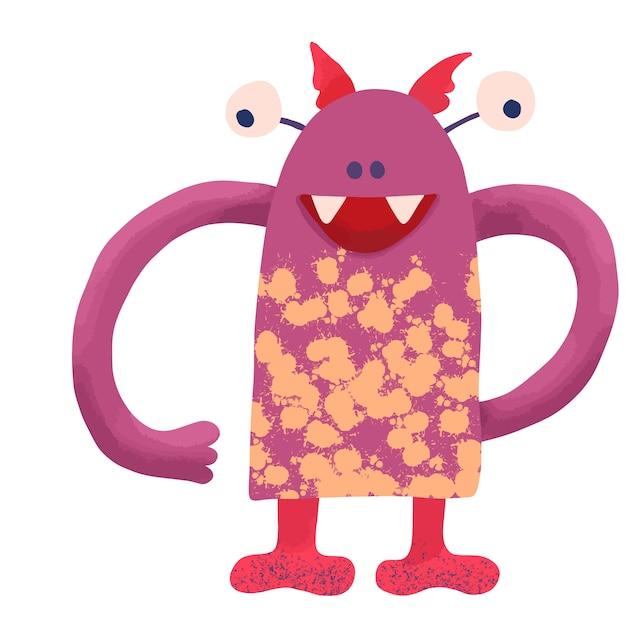 Большой забавный зубчатый монстр розового цвета с большими руками и желтыми пятнами на теле Premium векторы