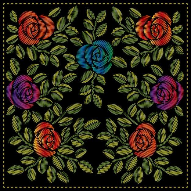 バラと葉のオリジナル刺繍 Premiumベクター
