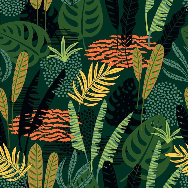 熱帯の葉と抽象的なシームレスパターン。 Premiumベクター