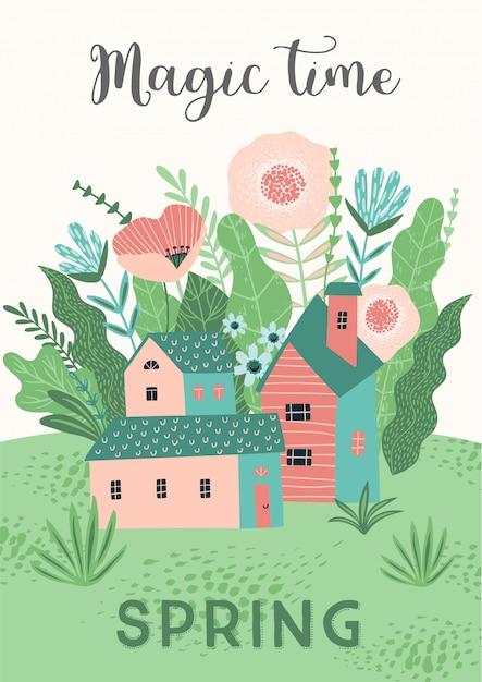 春の風景画とかわいいイラスト ベクター画像 プレミアムダウンロード
