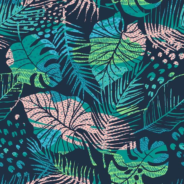 熱帯植物とのシームレスな抽象的なパターン Premiumベクター