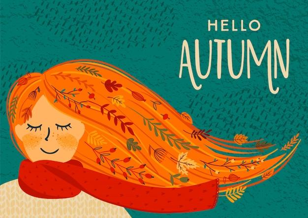 かわいい女性と秋のイラスト Premiumベクター