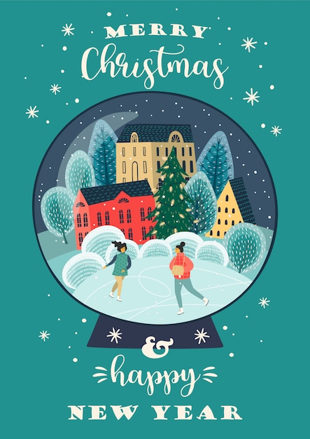 クリスマスと新年あけましておめでとうございますイラスト。 。 Premiumベクター
