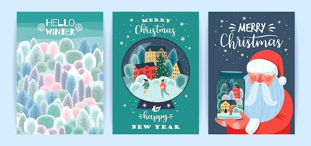 Набор иллюстраций рождества и счастливого нового года. шаблоны. Premium векторы