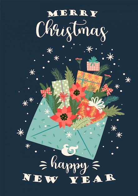 Рождества и счастливого нового года иллюстрации. векторный дизайн шаблона. Premium векторы