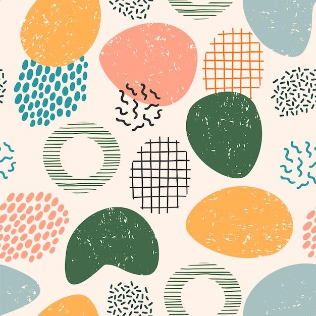 Абстрактный художественный бесшовный узор с модной рисованной текстуры Premium векторы