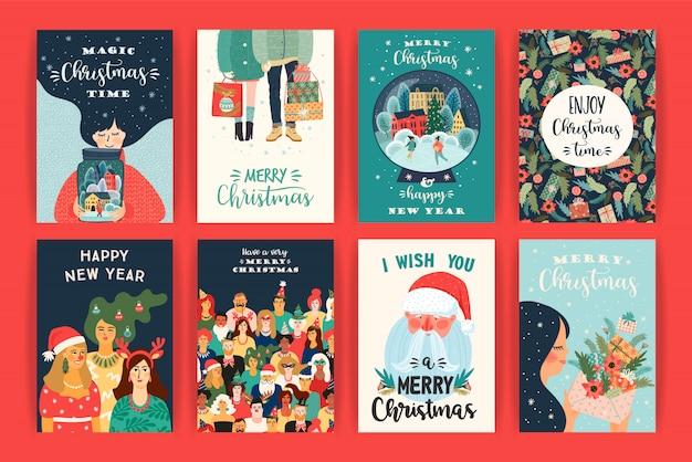 クリスマスと新年あけましておめでとうございますイラストのセット。ベクターデザインテンプレート。 Premiumベクター