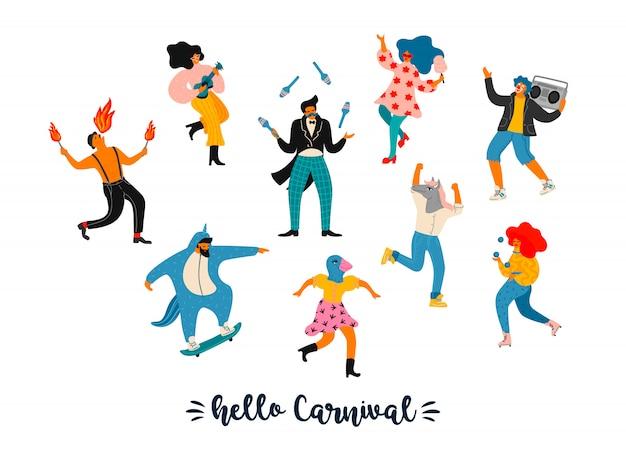 カーニバル。明るいモダンな衣装で面白いダンスの男性と女性のベクトルイラスト。 Premiumベクター