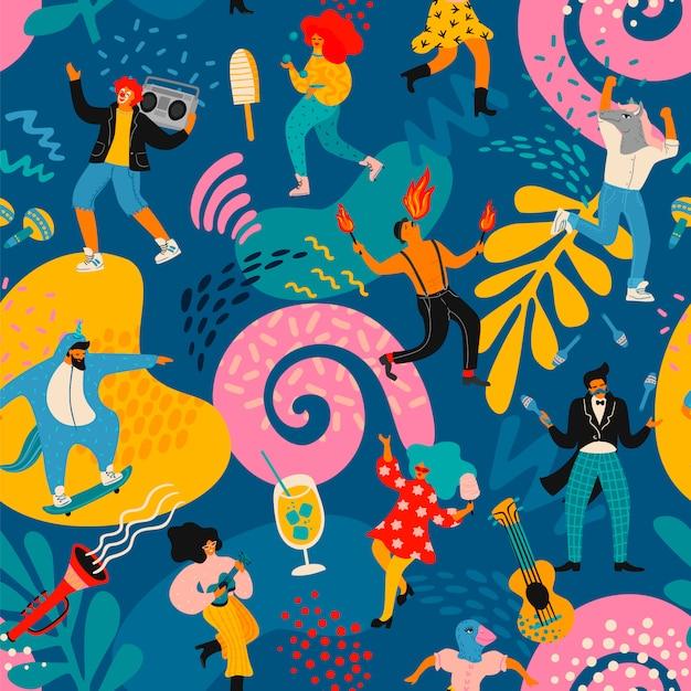 Вектор бесшовный образец с забавными танцующими мужчинами и женщинами в ярких современных костюмах. Premium векторы