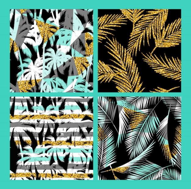 熱帯植物とゴールドラメのテクスチャでシームレスなエキゾチックなパターン。 Premiumベクター
