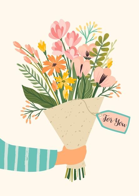 Иллюстрация букет цветов. концепция дизайна вектор на день святого валентина Premium векторы