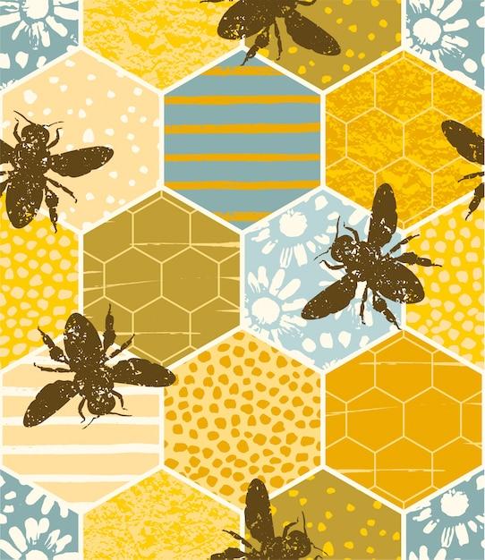 蜜蜂とシームレスな幾何学模様。現代抽象的な蜂蜜のデザイン。 Premiumベクター