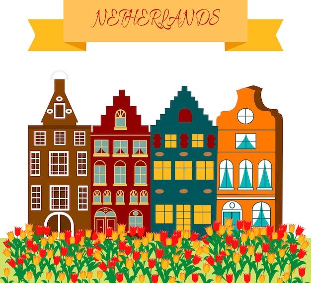 Рамка с символами культурного и туристического наследия голландии с деревянными сабо и ветряными мельницами Premium векторы