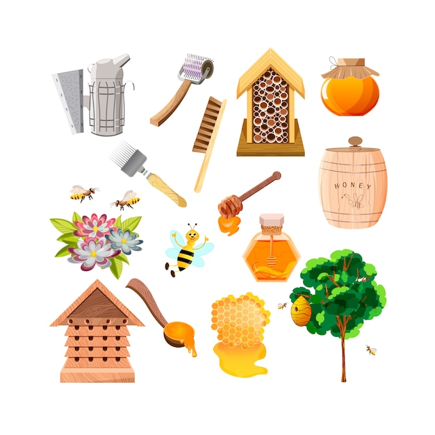 Пчела, соты, деревянный ковш и стеклянная банка с медом Premium векторы