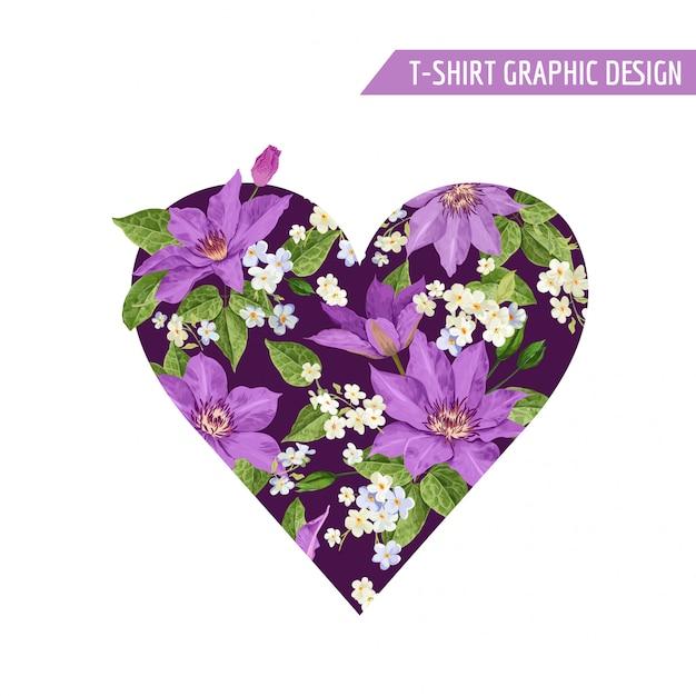 夏花ハート熱帯の花のデザイン Premiumベクター