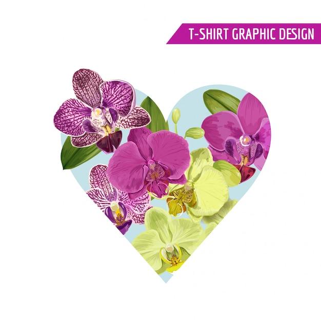 春花ハート熱帯の花のデザイン Premiumベクター