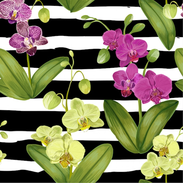 蘭の花とのシームレスな熱帯パターン。 Premiumベクター