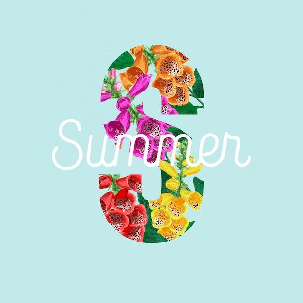 熱帯の花と夏の花のポスター Premiumベクター