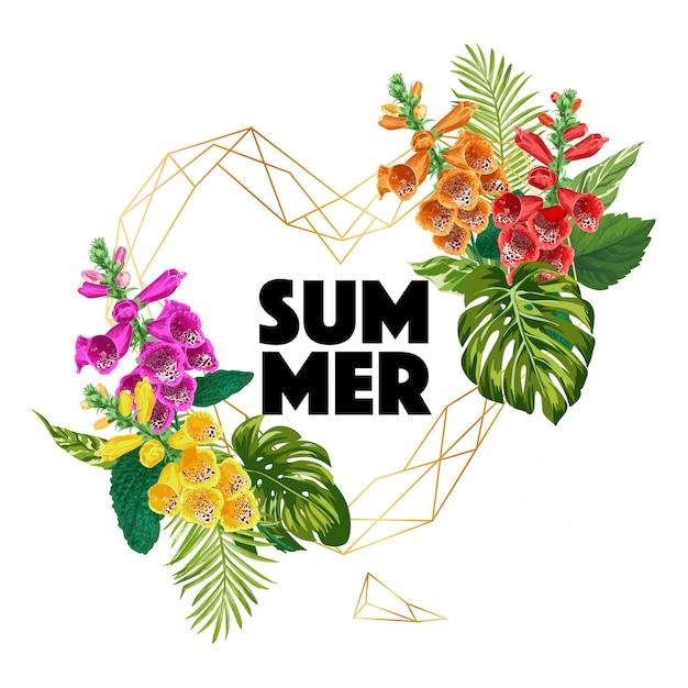 熱帯の花とこんにちは夏のバナー Premiumベクター