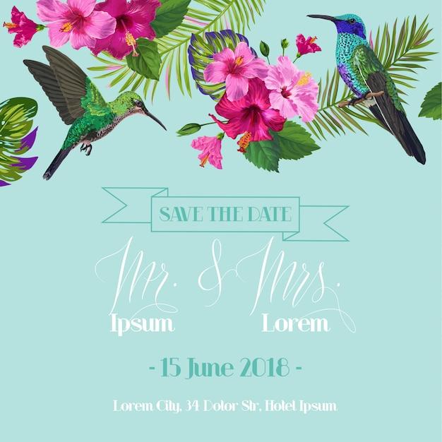 熱帯の花との結婚式の招待状 Premiumベクター