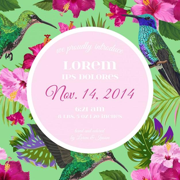 熱帯の花とハチドリの結婚式招待状 Premiumベクター