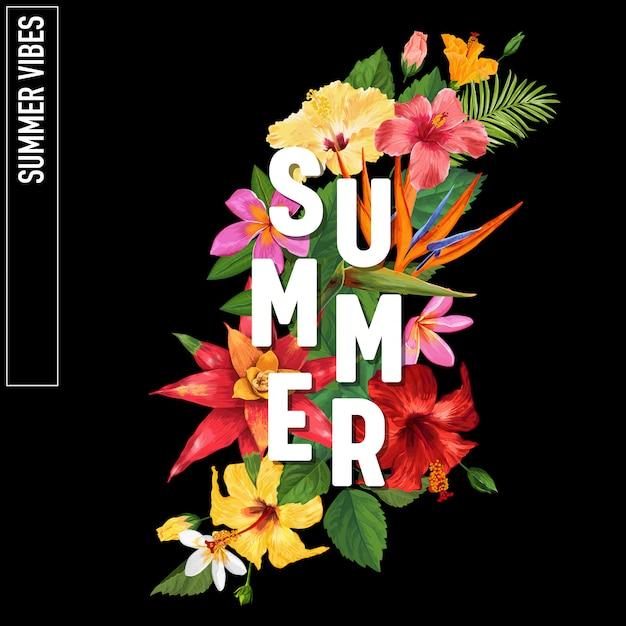 こんにちは夏のトロピカルデザインの花の背景 Premiumベクター