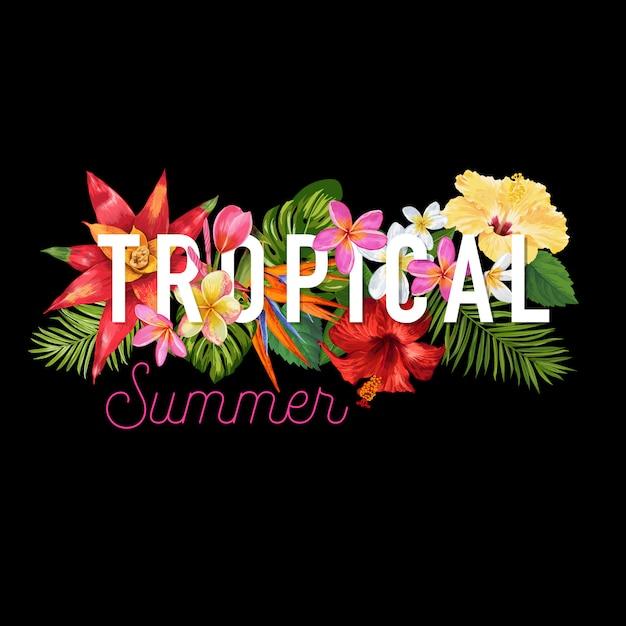 こんにちは夏のトロピカルデザイン花バナー Premiumベクター