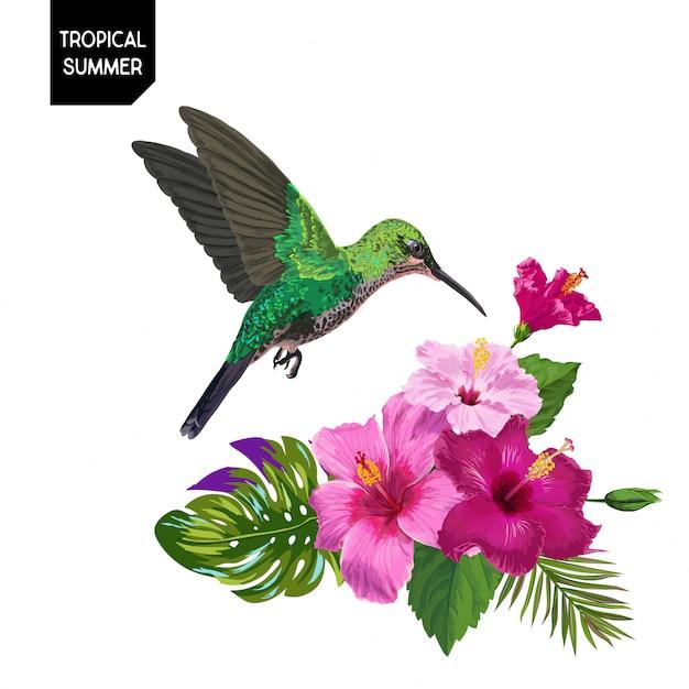 夏の熱帯ハチドリと花 Premiumベクター