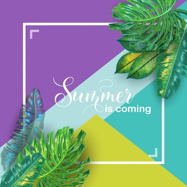 こんにちは夏のトロピカルデザイン Premiumベクター