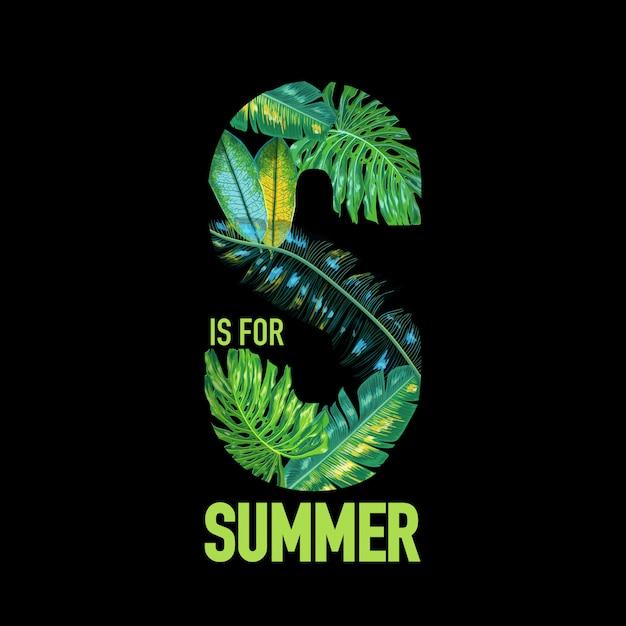 こんにちは夏の熱帯のデザインとヤシの葉 Premiumベクター